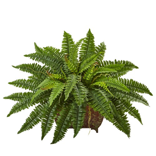 Boston Fern in Metallic Planter by Nearly Natural