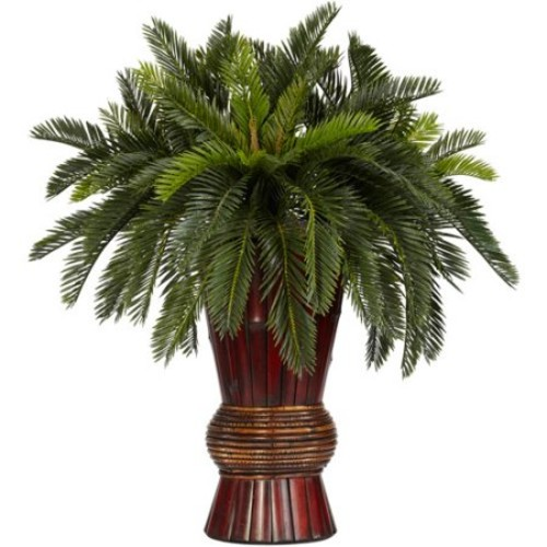 Nearly Natural 28 in. H Green Cycas with Bamboo Vase Silk Plant