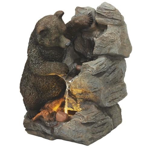 Best Garden Bear & Rock Fountain - WXF02092