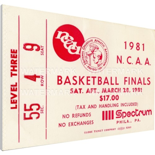 That's My Ticket Indiana Hoosiers 1981 NCAA Basketball Finals Canvas Mega Ticket