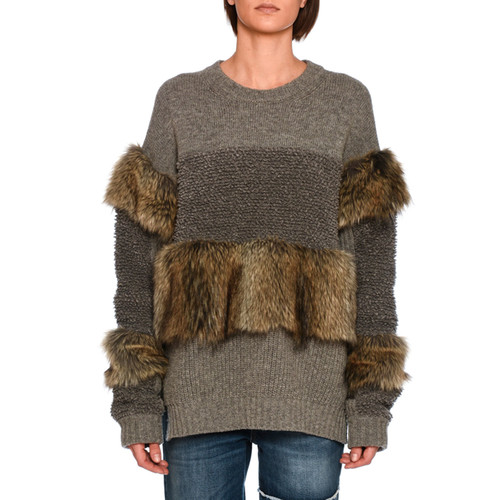 STELLA MCCARTNEY Faux-Fur Paneled Sweater, Gray