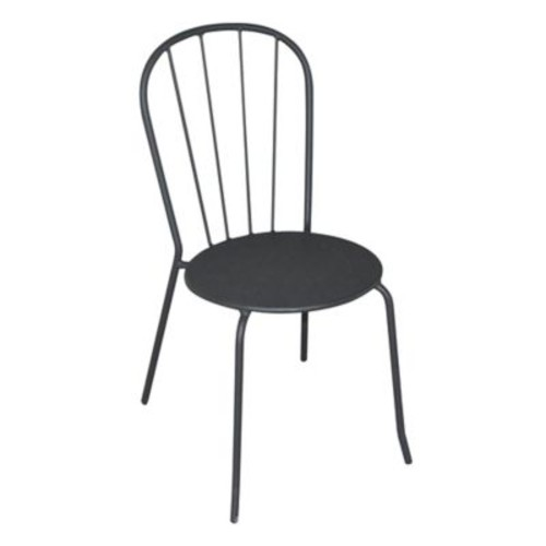 Outdoor Steel Bistro Chair in Matte Black