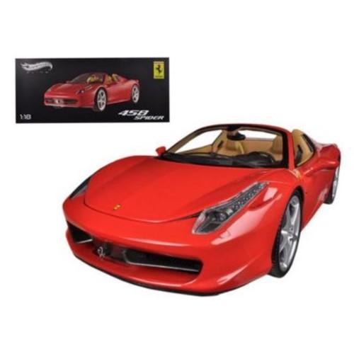 Hot wheels Ferrari 458 Spider F1 Red Elite Edition 1-18 Diecast Car Model (DTDP2281)