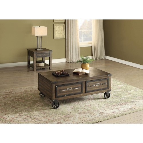 Acme Furniture Kailas Dark Oak Built-In Storage Coffee Table