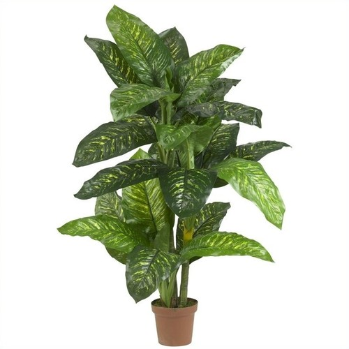 Nearly Natural 5' Dieffenbachia Silk Plant (Real Touch) in Green