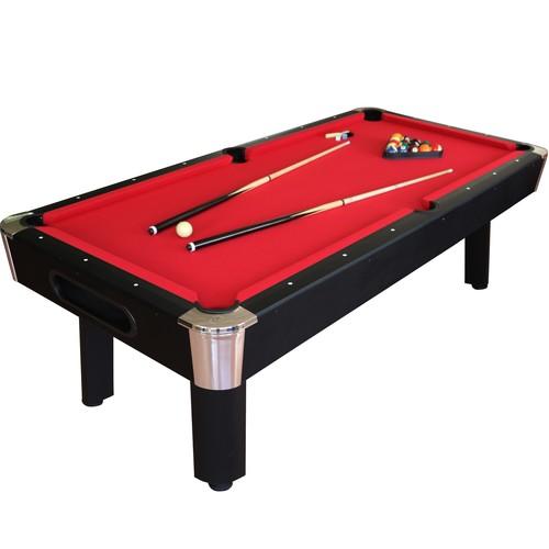 Sportcraft 8' Bay Shore Red Felt/Black Finish Billiard Table w/Table Tennis Top