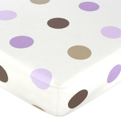 Sweet Jojo Designs Purple and Brown Mod Dots Fitted Crib Sheet