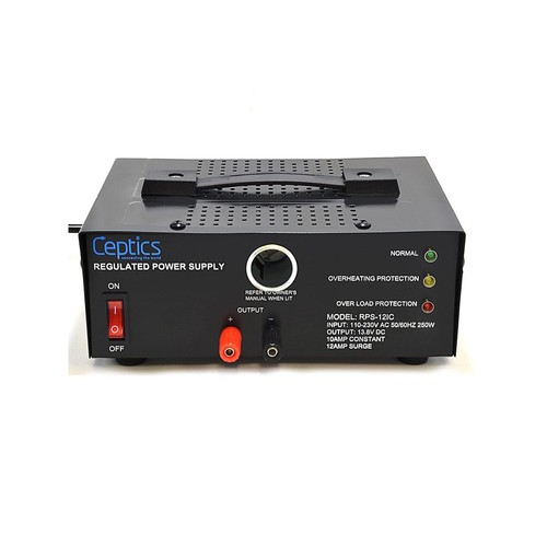 Ceptics RPS-12IC 10 Amp 13.8-Volt Power Supply with Cigarette Lighter Input