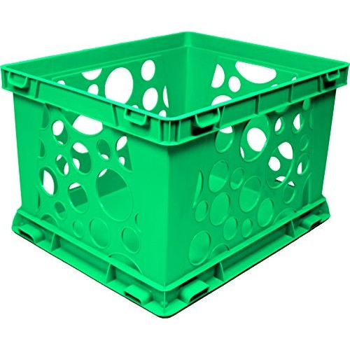 Storex Large Storage and Transport File Crate, 17.25 x 14.25 x 10.5 Inches, Green (STX61556U01C)