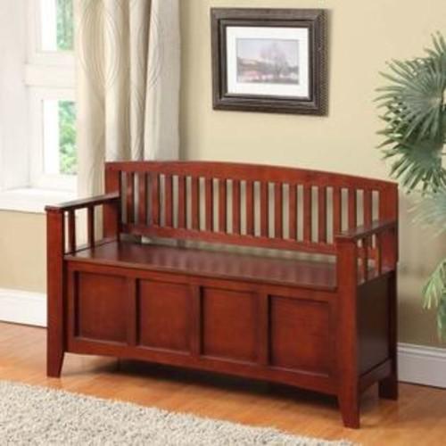 LINON HOME DECOR PRODUCTS, INC Linon Home Decor 83985WAL-01-KD-U Cynthia Storage Bench- Walnut Finish