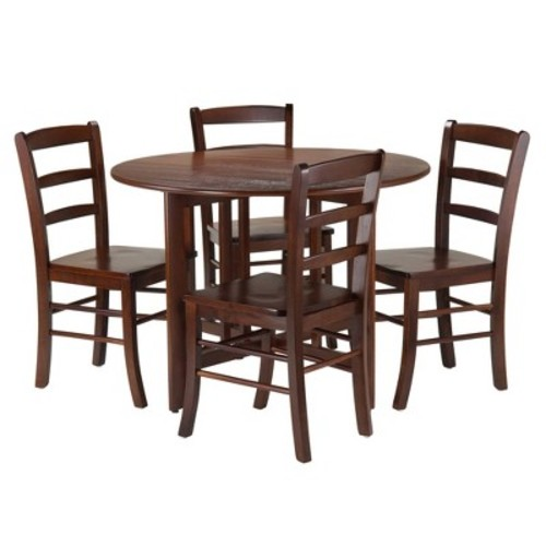 5 Piece Alamo Set Drop Leaf Table with Ladder Back Chairs Wood/Walnut- Winsome