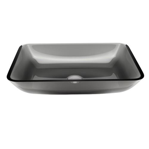 VIGO Rectangular Sheer Black Glass Vessel Bathroom Sink