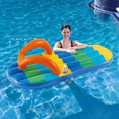 Blue Wave Beach Striped Flip Flop Inflatable Float