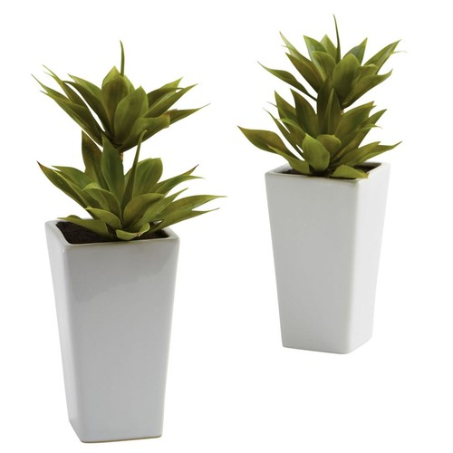 Nearly Natural 4971 Mini Agave Set of 2 Plant in Planter