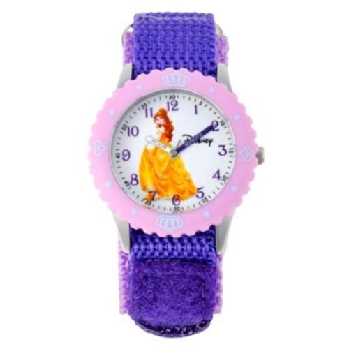 Disney Belle Children's 32mm Time Teacher Watch in Stainless Steel with Purple Nylon Strap