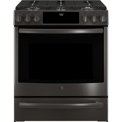GE Profile 5.6 cu. ft. Slide-In Smart Gas Range with Self-Cleaning True Convection Oven and WiFi in Black Stainless Steel