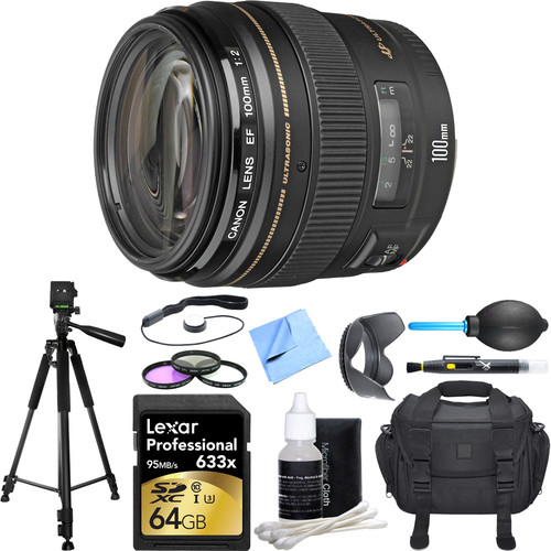 Canon EF 100mm F/2.0 USM Lens Deluxe Accessory Bundle includes includes Lens, 64GB SDXC Memory Card, Tripod, 58mm Filter Kit, Lens Hood, Bag, Cleaning Kit, Beach Camera Cloth and More