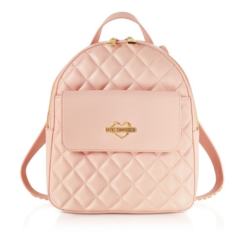 Pink Superquilted Eco-Leather Small Backpack