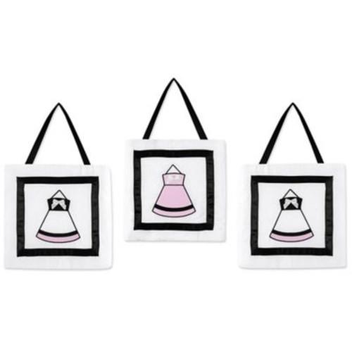 Sweet Jojo Designs Princess Wall Dcor in Black/White/Pink (Set of 3)