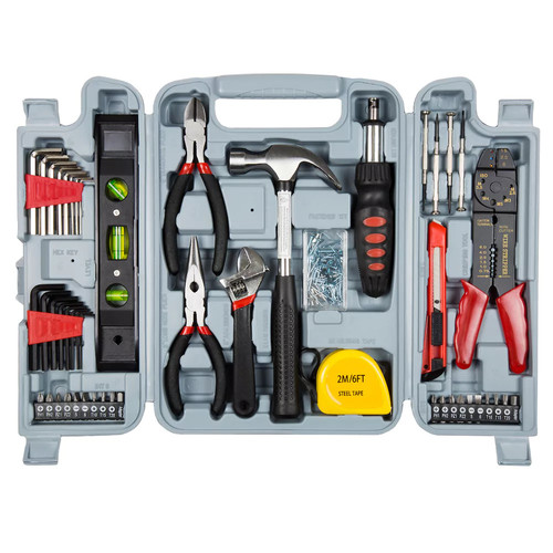 Household Hand Tools, 130 Piece Tool Set by Stalwart, Set Includes  Hammer, Wrench Set, Screwdriver Set, Pliers (Great for DIY Projects)