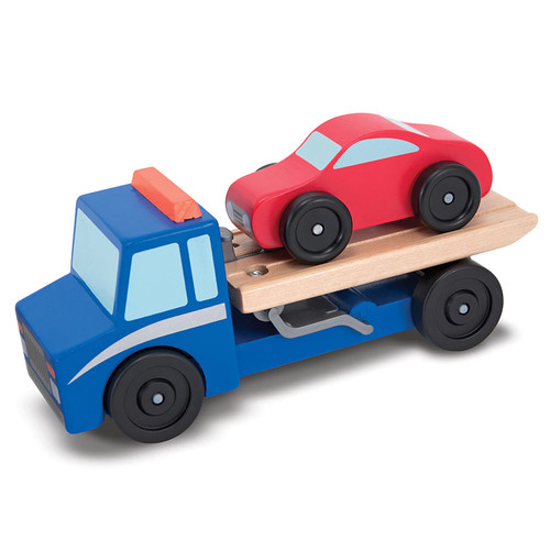 Melissa & Doug Flatbed Tow Truck Wooden Vehicle Set [1]