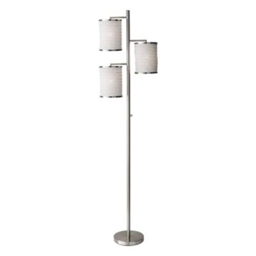 Adesso Bellows 3-Light Tree Floor Lamp in Brushed Steel
