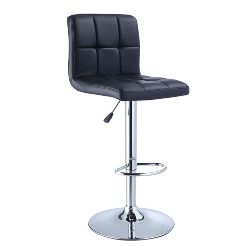 L Powell Black Quilted Faux Leather & Chrome Adjustable Height Bar Stool