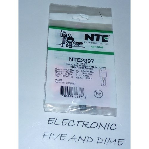NTE Electronics NTE2397 N-Channel Power MOSFET Transistor, Enhancement Mode, High Speed Switch, TO220 Type Package, 400V, 10 Amp