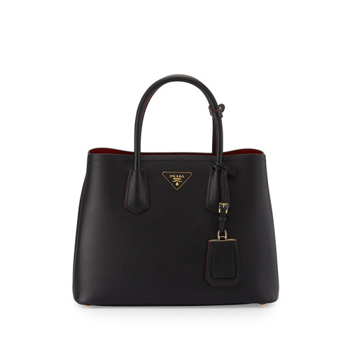 PRADA Saffiano Cuir Double Small Tote Bag, Black/Red (Nero+Fuoco)