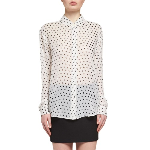 SAINT LAURENT Polka Dot-Print Silk Blouse, White/Black