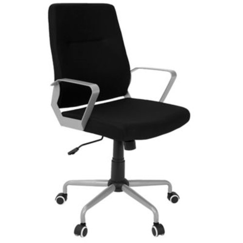 Lumisource Zip Contemporary Fabric Office Chair, Black/Gray (OFC-ZIP GY+BK)