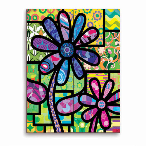 Quilted Flowers' Purple Wooden Wall Art