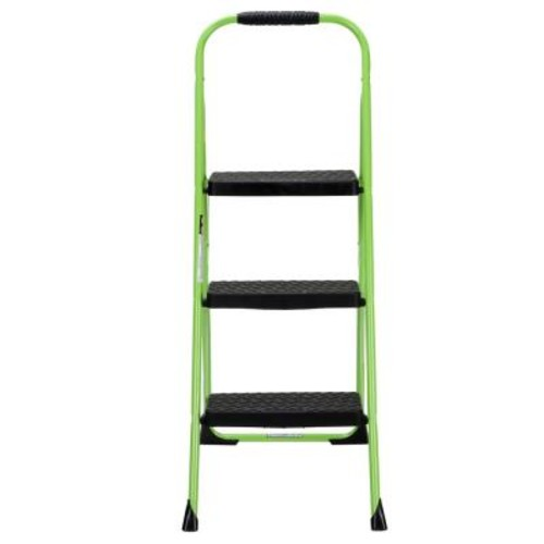 Cosco 3-Step Steel Big Step Folding Step Stool Type 3 with Rubber Hand Grip in Green