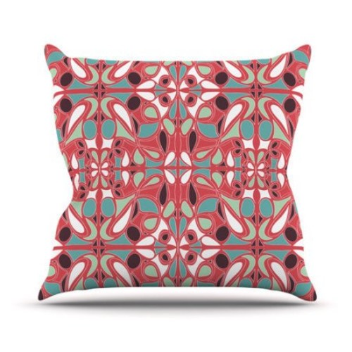 KESS InHouse Stained Glass Pink Throw Pillow
