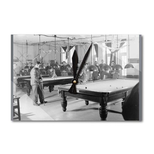 Billiards Room for Soldiers YMCA - Vintage Photo (Acrylic Wall Clock)