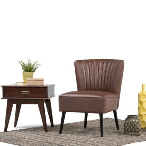 Simpli Home Hollyford Distressed Brown Air Leather Side Chair