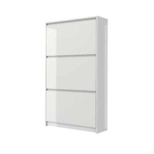 Rebrilliant Bright 16-Pair Shoe Storage Cabinet; White High Gloss