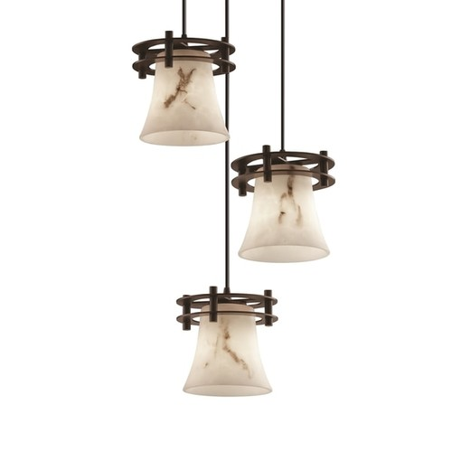 Justice Design Group LumenAria Circa 3-Light Cluster Pendant, Bronze