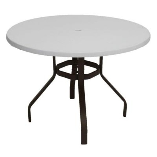 Marco Island 42 in. Dark Cafe Brown Round Commercial Fiberglass Metal Outdoor Patio Dining Table