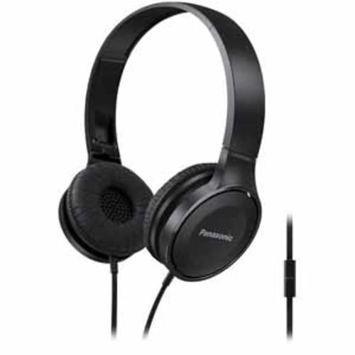 Panasonic Lightweight On-Ear Headphones with Mic + Controller - Black