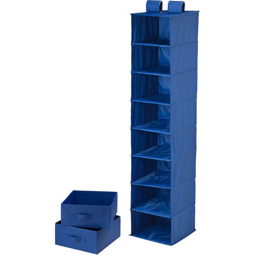 Honey-Can-Do SFT-01746 8-Shelf Hanging Vertical Closet Organizer with 2-Pack Drawers, Blue, 12L x 12W x 54H