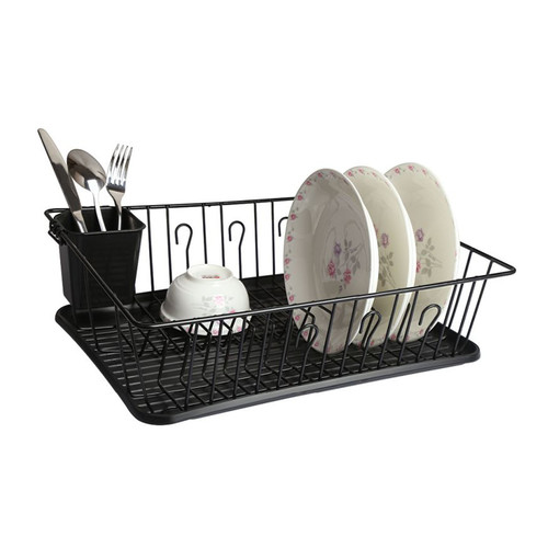 Mega Chef 17.5 Inch Black Dish Rack with 14 Plate Positioners and a Detachable Utensil Holder