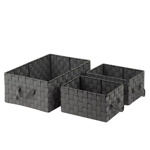 Honey-Can-Do 3-Piece Woven Basket Set in Black