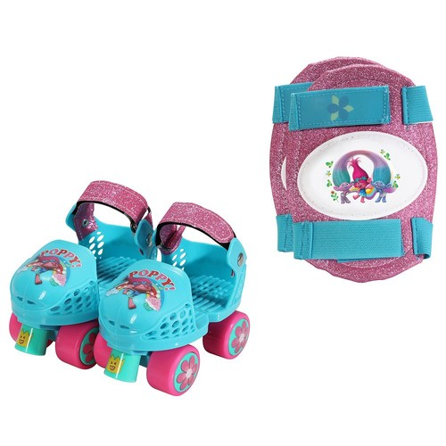 Playwheels Trolls Junior Size 6-12 Roller Skates with Knee Pads