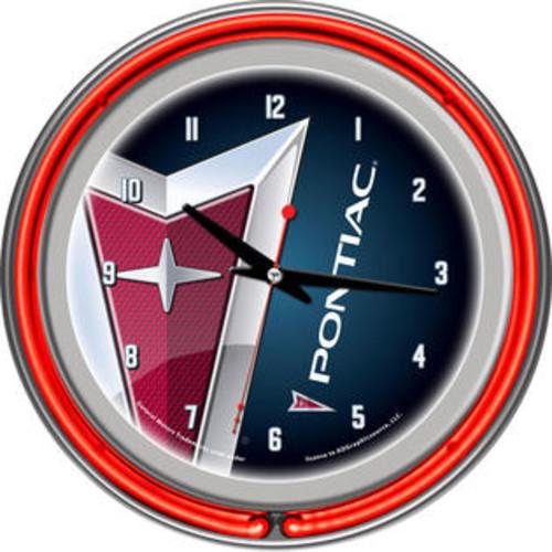 Pontiac Chrome Double Ring Neon Clock GM1400-PC