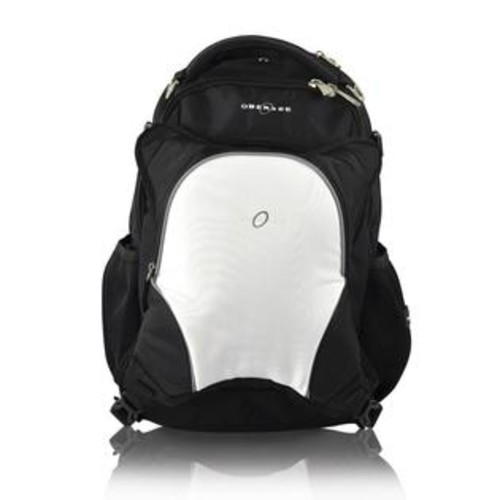 Obersee Oslo Backpack Diaper Bag and Cooler - Black/White