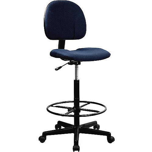 Flash Furniture Navy Blue Patterned Fabric Drafting Chair (Cylinders: 22.5''-27''H or 26''-30.5''H)
