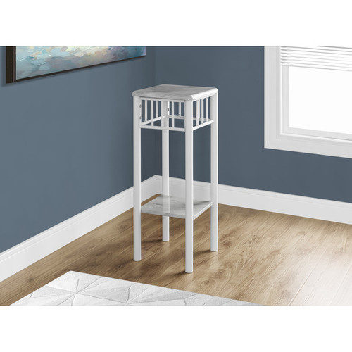 Monarch Coffee, Console, Sofa & End Tables Accent Table-White Marble/White Metal
