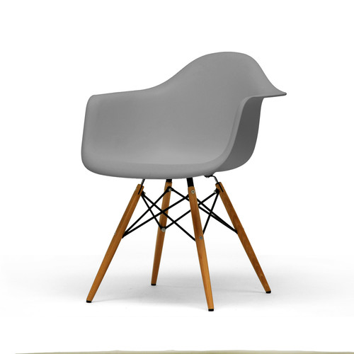 Baxton Studio Set of 2 Pascal Grey Plastic Mid-Century Modern Shell Chair