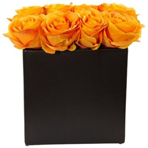 Nearly Natural Roses Arrangement in Black Vase (1510-OY)